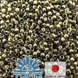 TOHO® Besier Gold-Lined Black Diamond 11/0 (2.2 mm) 10 g.