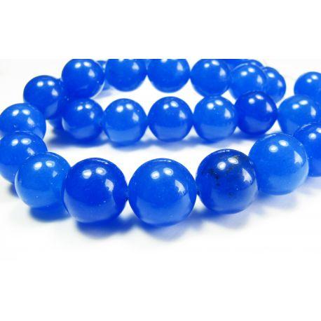 Safyro akmeniniai karoliukai, mėlynos spalvos, 10 mm
