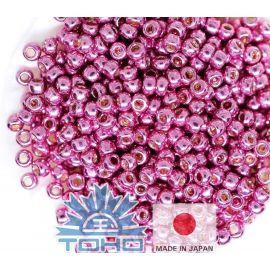 TOHO® seemnehelmed tsingitud roosa sirel 11/0 (2,2 mm) 10 g., 1 kott võtmetele tumeroosa
