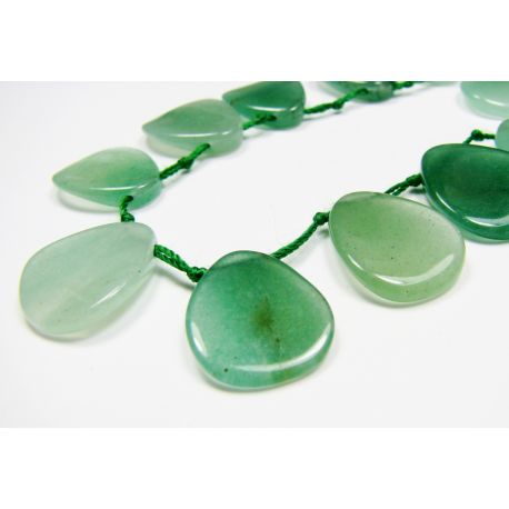 Avantiurin beads green, flat drop shape 18x14 mm