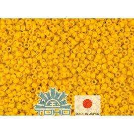 Бисер TOHO® Seed Beads Opaque-Frosted Sunshine 11/0 (2,2 мм) 10 г, 1 пакет для ключей насыщенного желтого цвета