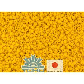 TOHO® Biseris Opaque-Frosted Sunshine 11/0 (2,2 mm) 10 g., 1 maišelis rakndarbiams sodrios geltonos spalvos