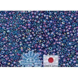 TOHO® Biseris Inside-Color Aqua/Oxblood-Lined 11/0 (2,2 mm) 10 g., 1 maišelis rakndarbiams mėlynos spalvos