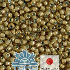 TOHO® Biseris Inside-Color Topaz/Lt Gray-Lined 11/0 (2,2 mm) 10 g., 1 maišelis rakndarbiams rudai geltonos spalvos