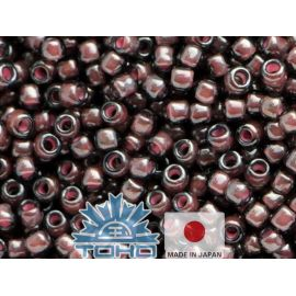 TOHO® Seed Beads Inside-Color Lustered Black Diamond/Pink-Lined 11/0 (2.2 mm) 10 g.