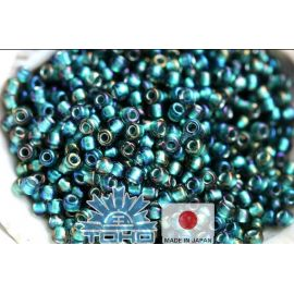 TOHO® Seed Beads Inside-Color Crystal/Metallic Teal-Lined 11/0 (2.2 mm) 10 g.
