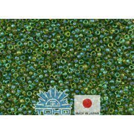 TOHO® Biseris Inside-Color Luster Jonquil/Emerald-Lined 11/0 (2,2 mm) 10 g.