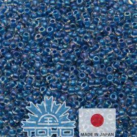 TOHO® Seed Beads Inside-Color Luster Crystal/Dk Capri-Lined 11/0 (2.2 mm) 10 g.