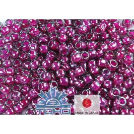 TOHO® Seed Beads Inside-Color Gray/Magenta-Lined 11/0 (2.2 mm) 10 g.
