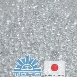 TOHO® Biseris Transparent Crystal 11/0 (2,2 mm) 10 g., 1 maišelis rakndarbiams baltos spalvos