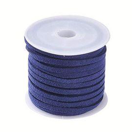 Suede strip ~5 meters, 1 coil for keys dark blue