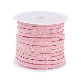 Zomšinė juostelė ~5 metrus, 1 ritė rakndarbiams šviesiai rožinės spalvos