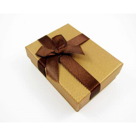Gift box, cardboard, brown glossy colors 90x65 mm
