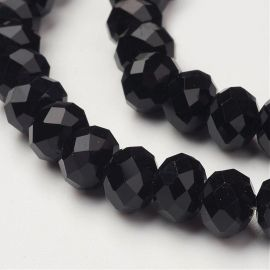 Glass beads, 1 strand for keys in black