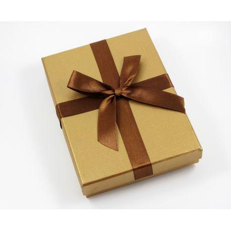 Dovanų dėžutė, kartoninė, rudos blizgios spalvos 180x130 mm