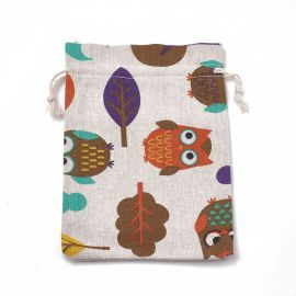 """Polyester cotton decorative gift bags """"Owls"""" 4 pcs., 1 pack for keywork variegated"""