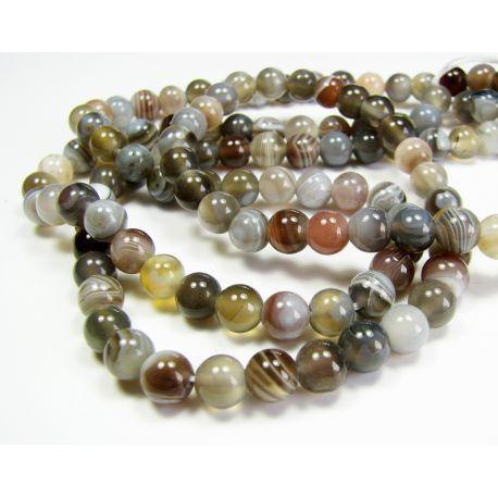 Botswana agate beads gray-white, yellowish-brown round shape 6 mm