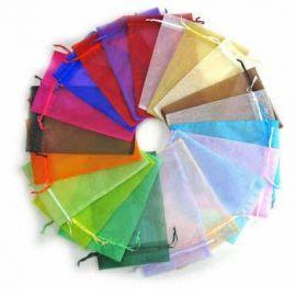 Organzos maišeliai 4 vnt., 1 pakuotė rakndarbiams įvairių spalvos