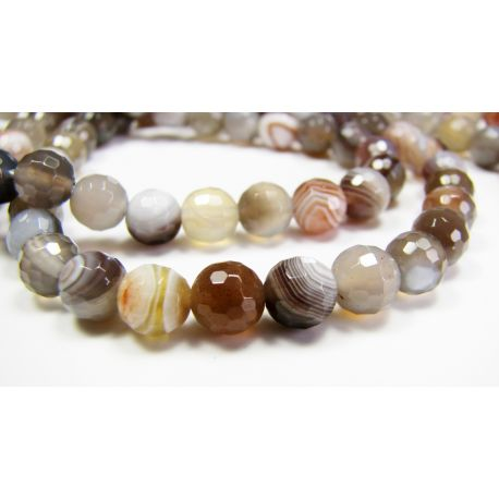 Botswana agate beads gray-white, yellowish-brown round shape, ribbed, 6 mm
