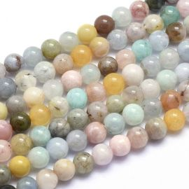 Natural stone beads for necklaces for jewelry mix. Greenish-beige-bluish-orange size