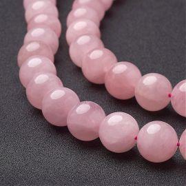 Natūralūs Rožinio kvarco karoliukai, 14 mm, 1 gija