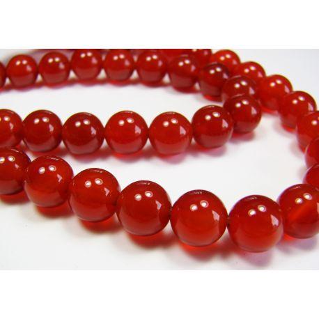 Karneolio karoliukai, raudonai oranžinės spalvos, apvalios formos 4 mm
