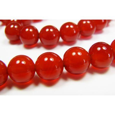 Karneolio karoliukai, raudonai oranžinės spalvos, apvalios formos 6 mm