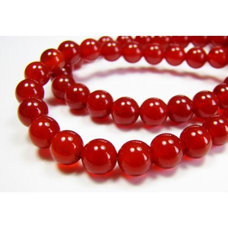 Karneolio karoliukai, raudonai oranžinės spalvos, apvalios formos 8 mm