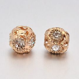 Brass spacer with rhinestones 2 pcs, 8 mm, 1 bag
