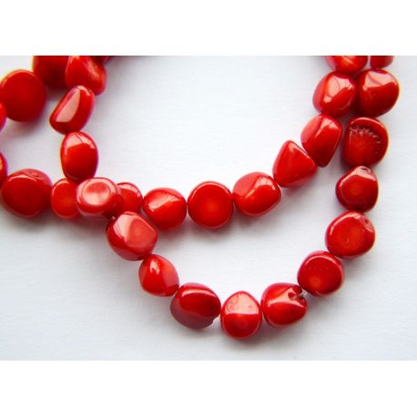 Coral beads red irregular round shape 8x10mm