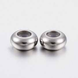 Stainless steel 304 stopper necklace bracelets for jewelry with a rubber band inside. Nickel size 6x3 mm ron