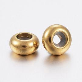 Nerūdijančio plieno 304 stoperis vėriniamsapyrankėmspapuošalams su gumute viduje. Aukso spalvos dydis 6x3 mmronde
