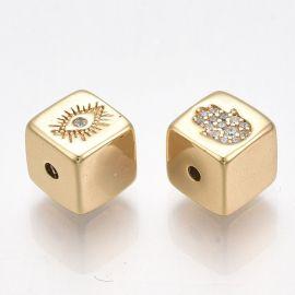 Brass Gold-plated 18K insert with Zirconium aperture necklace bracelets Size gold color size 7x7x7 mm