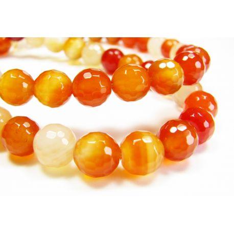 Karneolio karoliukai, rudai oranžinės spalvos, apvalios formos, briaunuoti 8 mm
