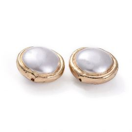 SHELL pearl bead with metal edging 16x9 mm 1 pcs
