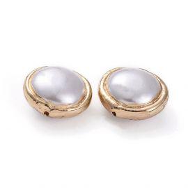 SHELL perlų karoliukas su metaliniu apvadu 16x9 mm 1 vnt