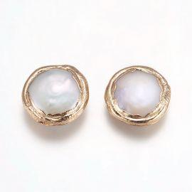 Natūralus kultivuotas perlas paauksuotas 18K 16-17x5-8 mm 1 vnt