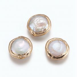 Natural Cultivated Pearl Gold Plated 18K 16-17x5-8 mm 1 pcs