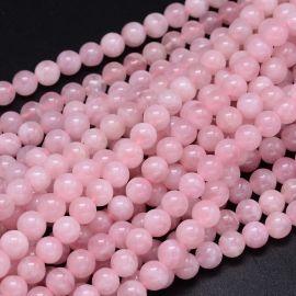 Natūralūs Madagaskaro Rožinio Kvarco karoliukai 8 mm 1 gija