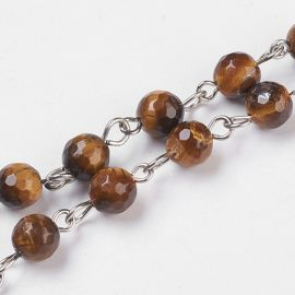 Natural Pebbles Tiger Eye Chain Of Beads ~83 pcs. 6 mm 1 pcs