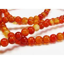 Karneolio karoliukai, rudai oranžinės spalvos, apvalios formos 4 mm