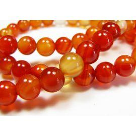 Carneol beads, brown-orange, round shape 6 mm