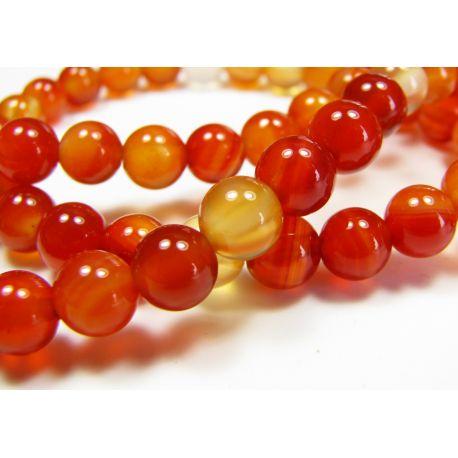 Karneolio karoliukai, rudai oranžinės spalvos, apvalios formos 6 mm