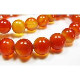 Carneol beads, brown-orange, round shape 8 mm