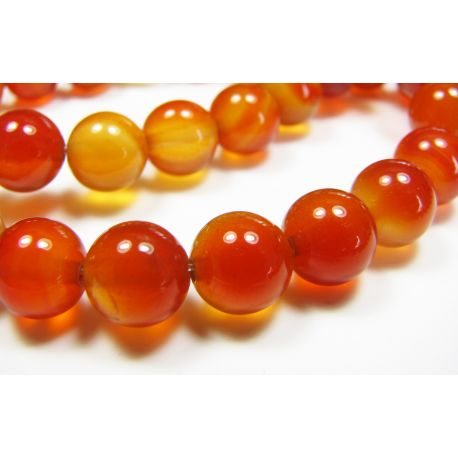 Karneolio karoliukai, rudai oranžinės spalvos, apvalios formos 8 mm