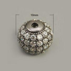 Žalvarinis intarpas su Cirkonio akutėmis 9,5-10 mm 1 vnt