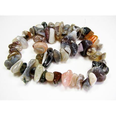 Botswana agate chipping thread, 10-20x5-11 mm beads, thread length about 40 cm