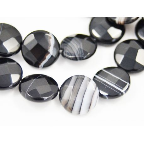 Beads of Brazilian sardoniks, black-and-white, coin shape 14 mm