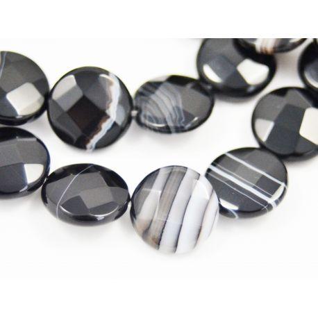Brasiilia sardonikute helmed, must-valged, mündi kuju 14 mm