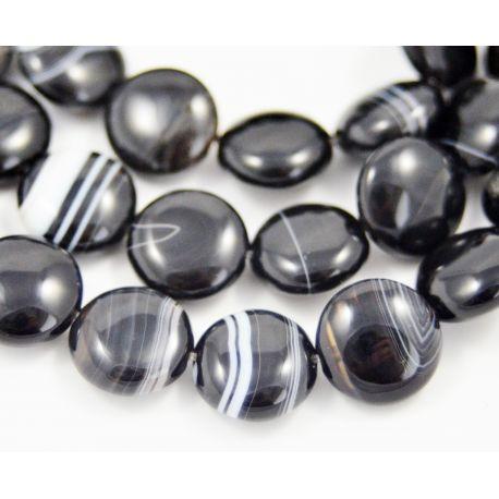 Beads of Brazilian sardoniks, black-and-white, coin shape 12 mm